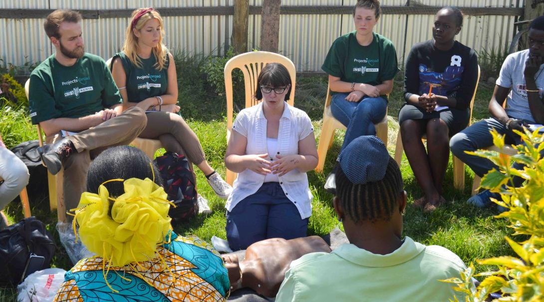A group of Projects Abroad volunteers shadow a qualified therapist during a workshop in Kenya during their Occupational Therapy internship.